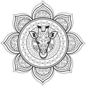 Mandala complexe avec tête de giraffe