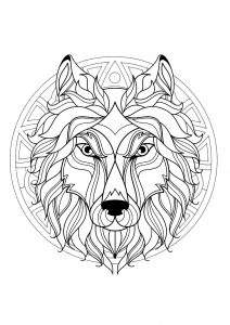 Mandala tête de loup   3