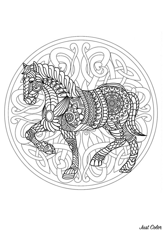Coloriage Cheval Zen.Mandala Cheval 3 Complique Mandalas Difficiles Pour
