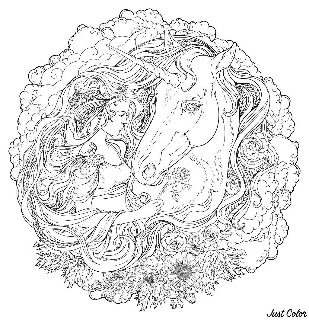 Mandala Fille Licorne Mandalas Difficiles Pour Adultes 100