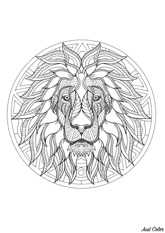 Coloriage De Lion Difficile.Mandala Tete De Lion 3 Mandalas Difficiles Pour Adultes