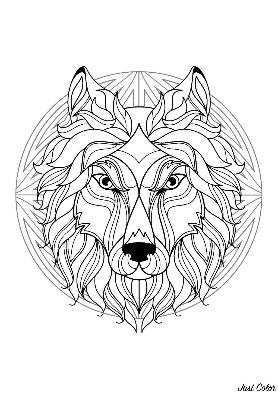 Mandala Tete Loup 1 Mandalas Difficiles Pour Adultes 100