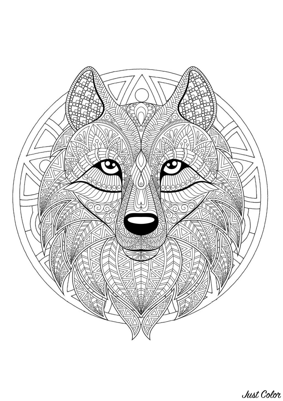 Coloriage Adulte Loup.Mandala Tete De Loup 2 Mandalas Difficiles Pour Adultes 100