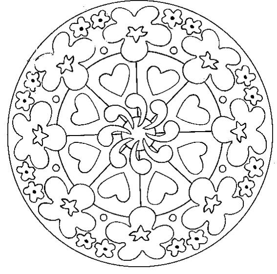 Mandala fleurs et coeurs mandalas faciles pour enfants - Coloriage mandala enfants ...