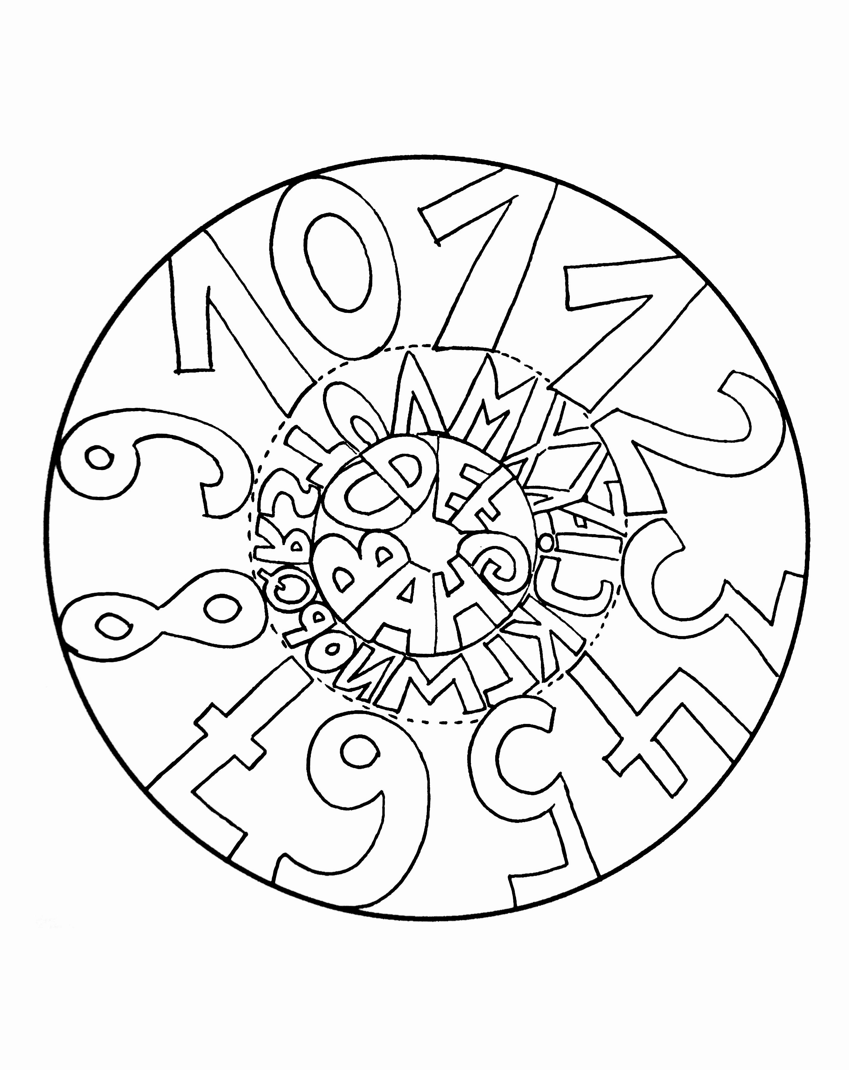 Mandala facile pour enfants avec des chiffres mandalas - Coloriage mandala enfants ...