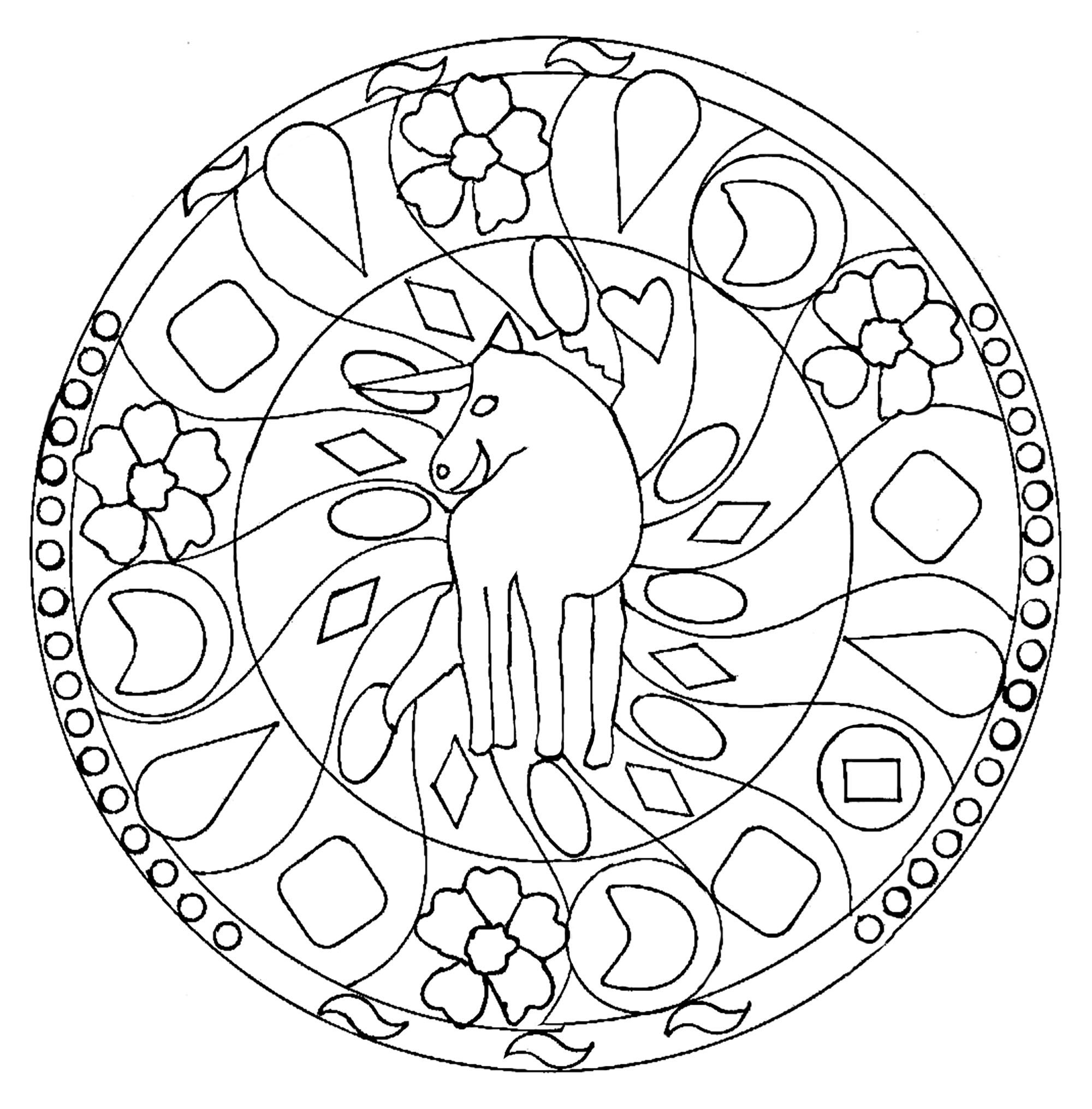 Mandala Facile Licorne Mandalas Faciles Pour Enfants 100 Mandalas Zen Anti Stress