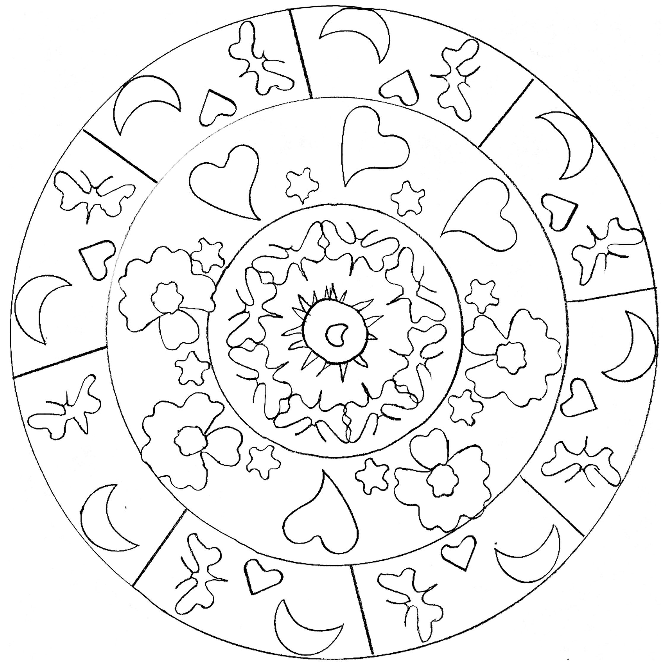 Coloriage Etoile Et Coeur.Joli Mandala Simple Avec Coeurs Et Lunes Mandalas Faciles