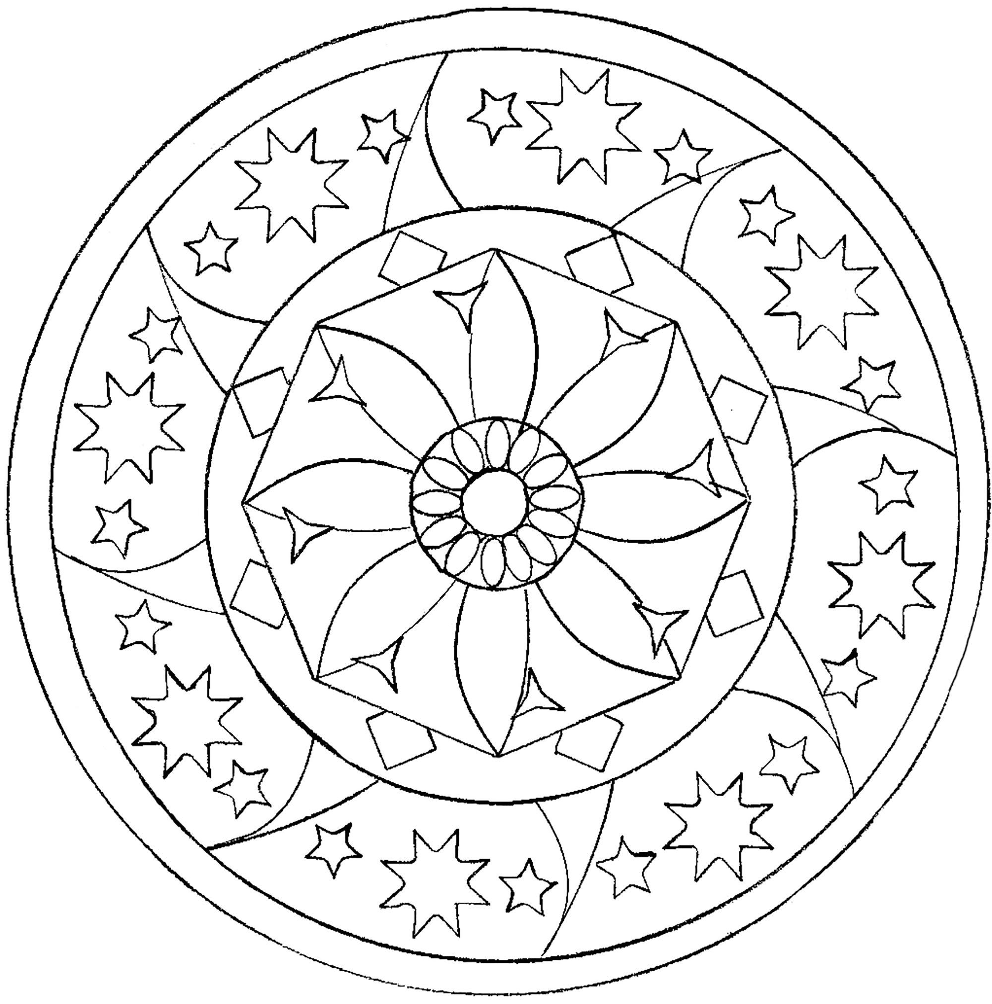 Mandala étoilé Mandalas Faciles Pour Enfants 100 Mandalas Zen