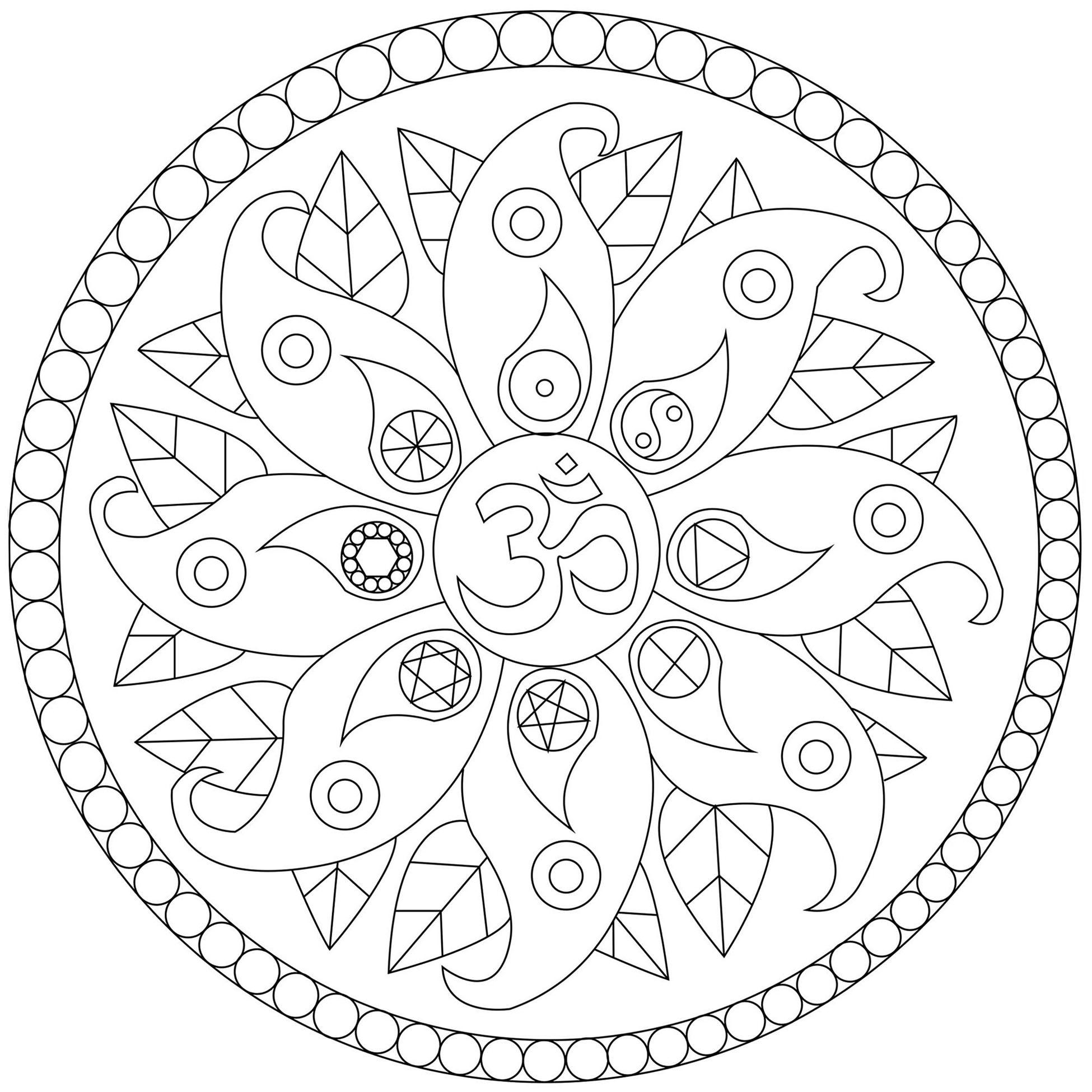 Joli Mandala avec divers symboles comme le Yin et le Yang, le symbole Om ...