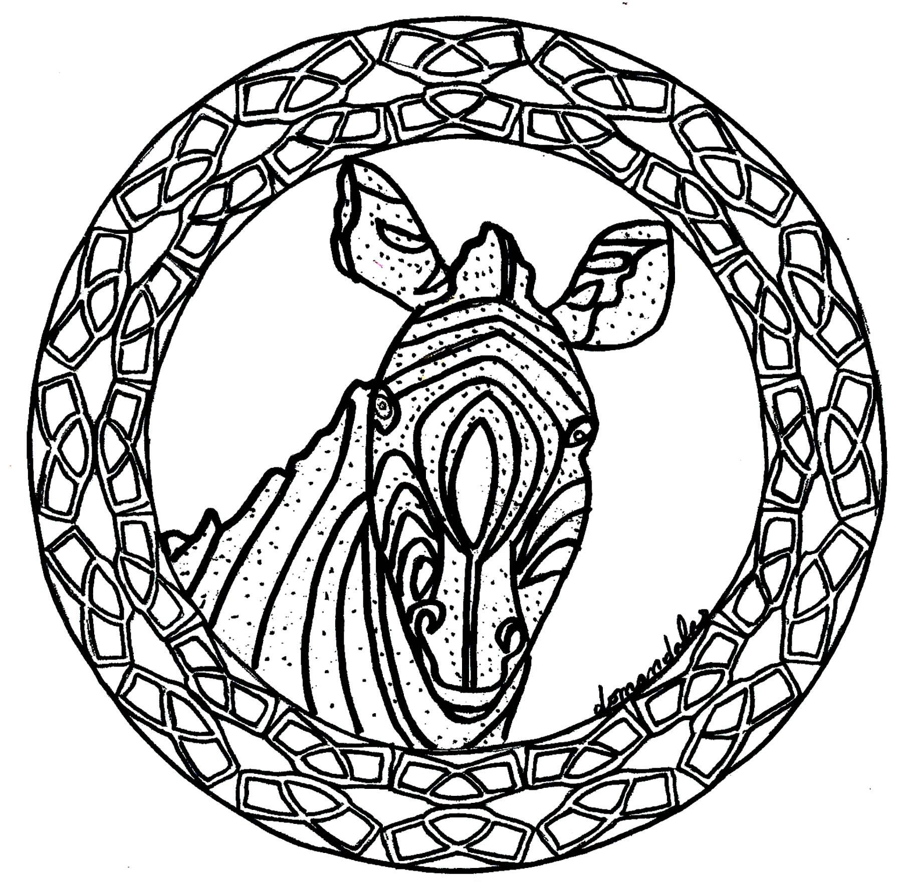 Coloriage Gratuit Zebre.Mandala Zebre Facile Mandalas Faciles Pour Enfants 100