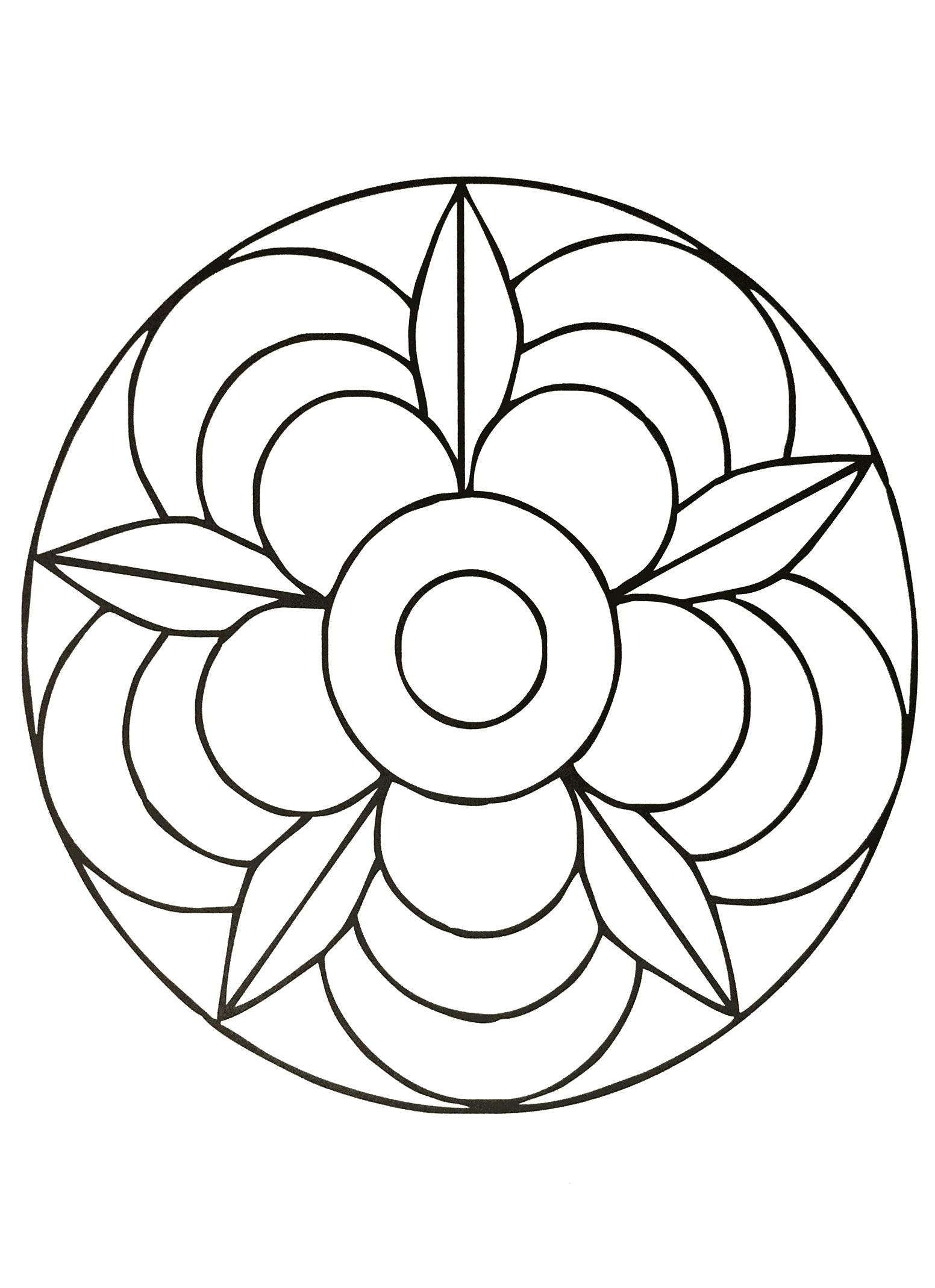 Fleur mandala mandalas faciles pour enfants 100 mandalas zen anti stress - Coloriage fleur tres jolie ...