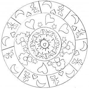 Joli mandala simple avec coeurs et lunes
