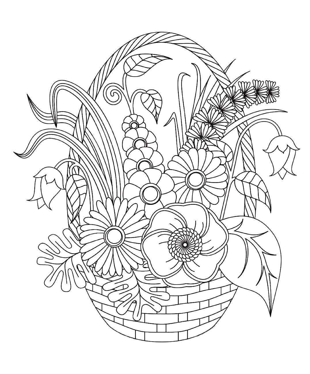 coloriage fleurs et ve ation panier de printemps