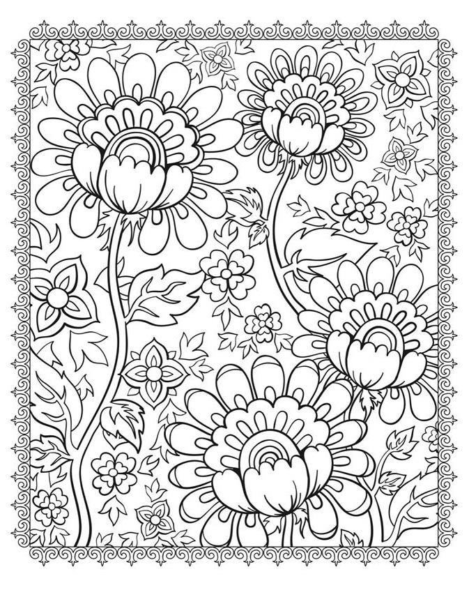 Fleurs et vegetation quatre fleurs coloriages de fleurs - Coloriage mandala printemps ...