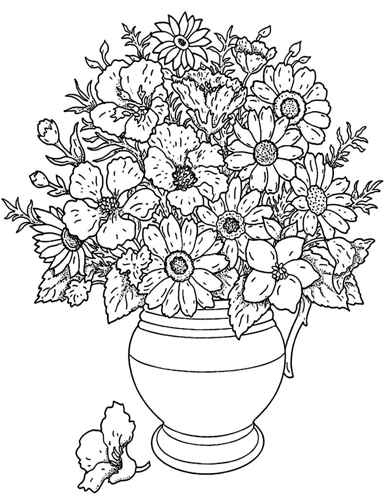 Fleurs Et Vegetation Vase Coloriages De Fleurs Et Motifs Vegetaux