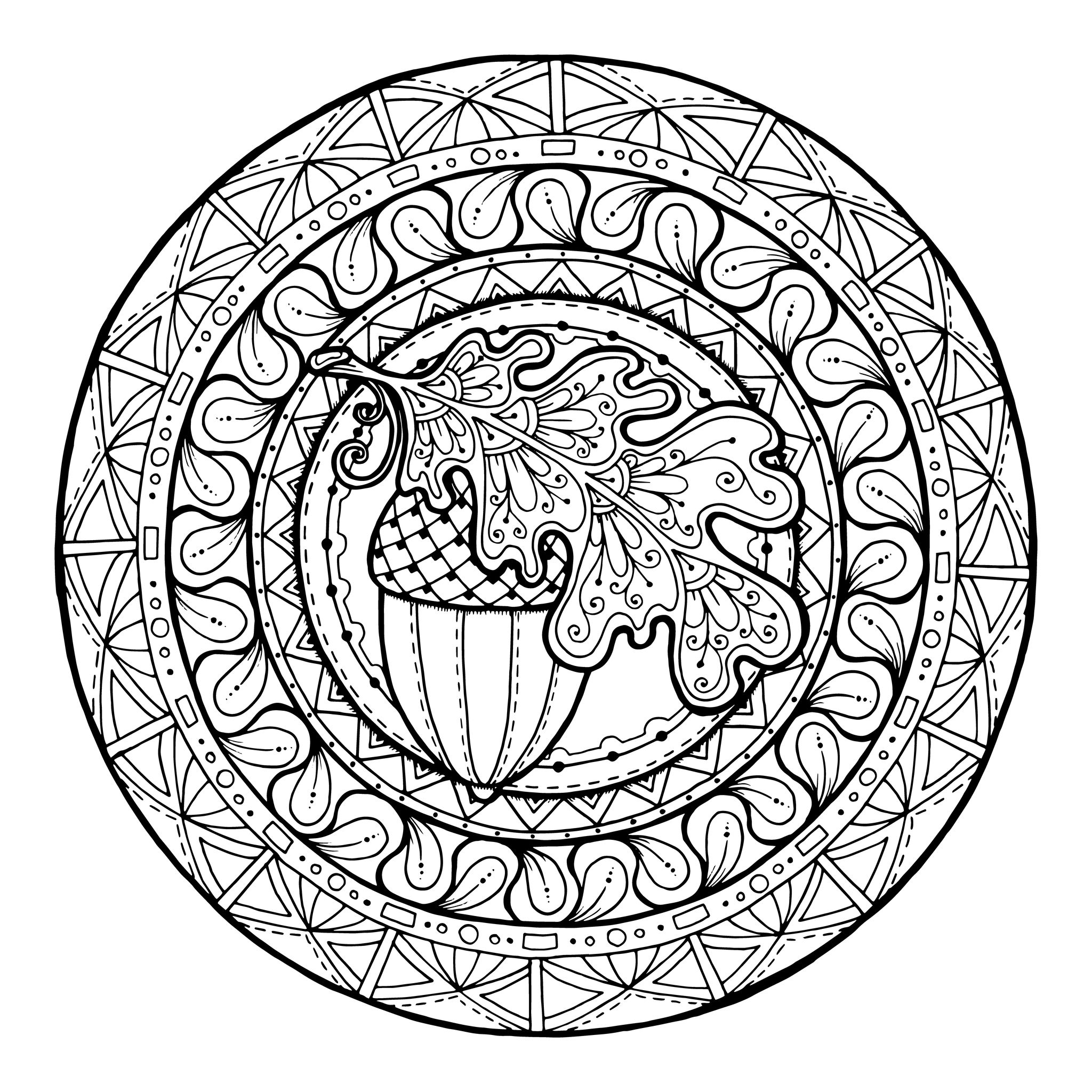 Mandala avec un joli gland au milieu