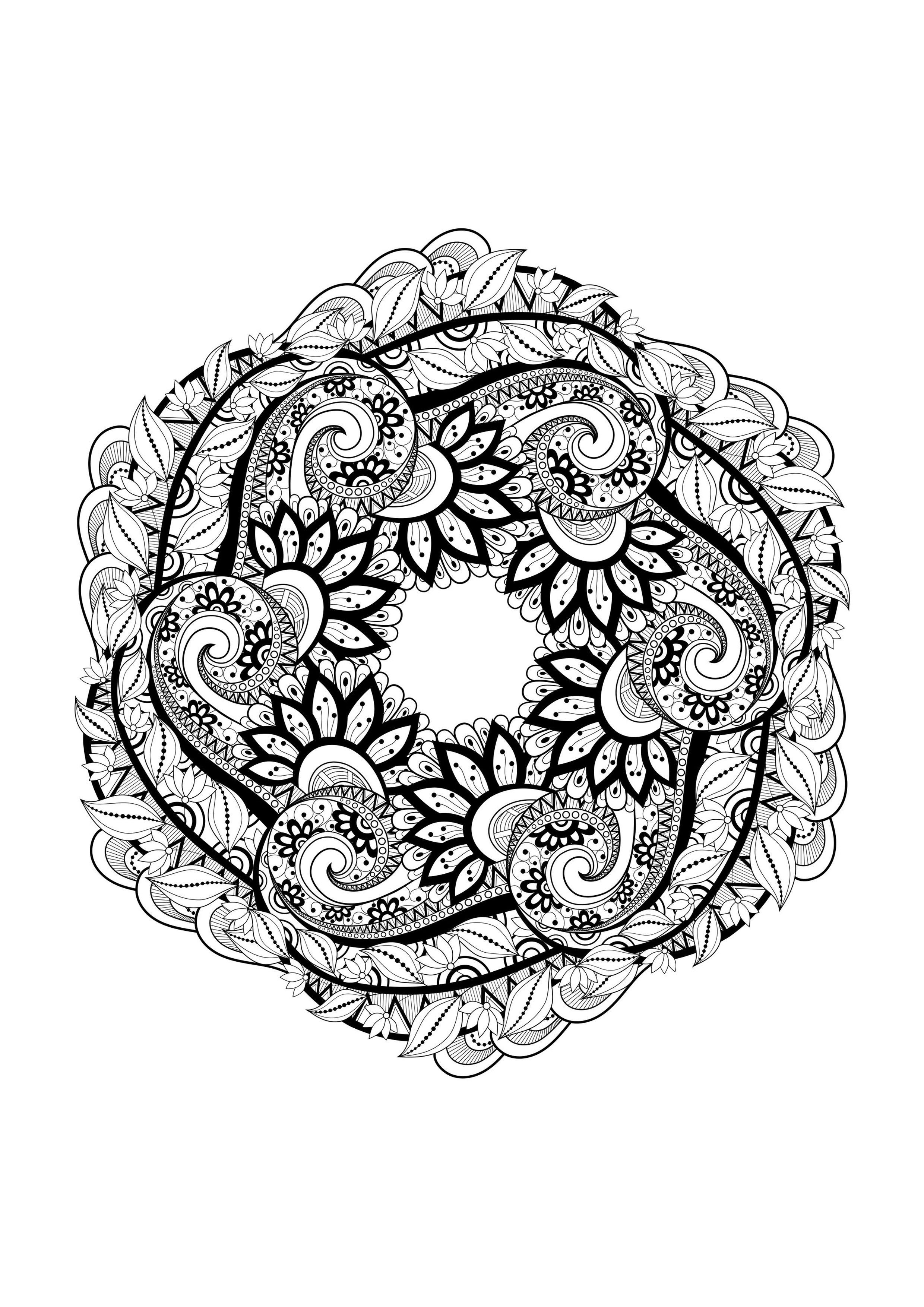 Mandala avec fleurs et feuilles tres detaillees