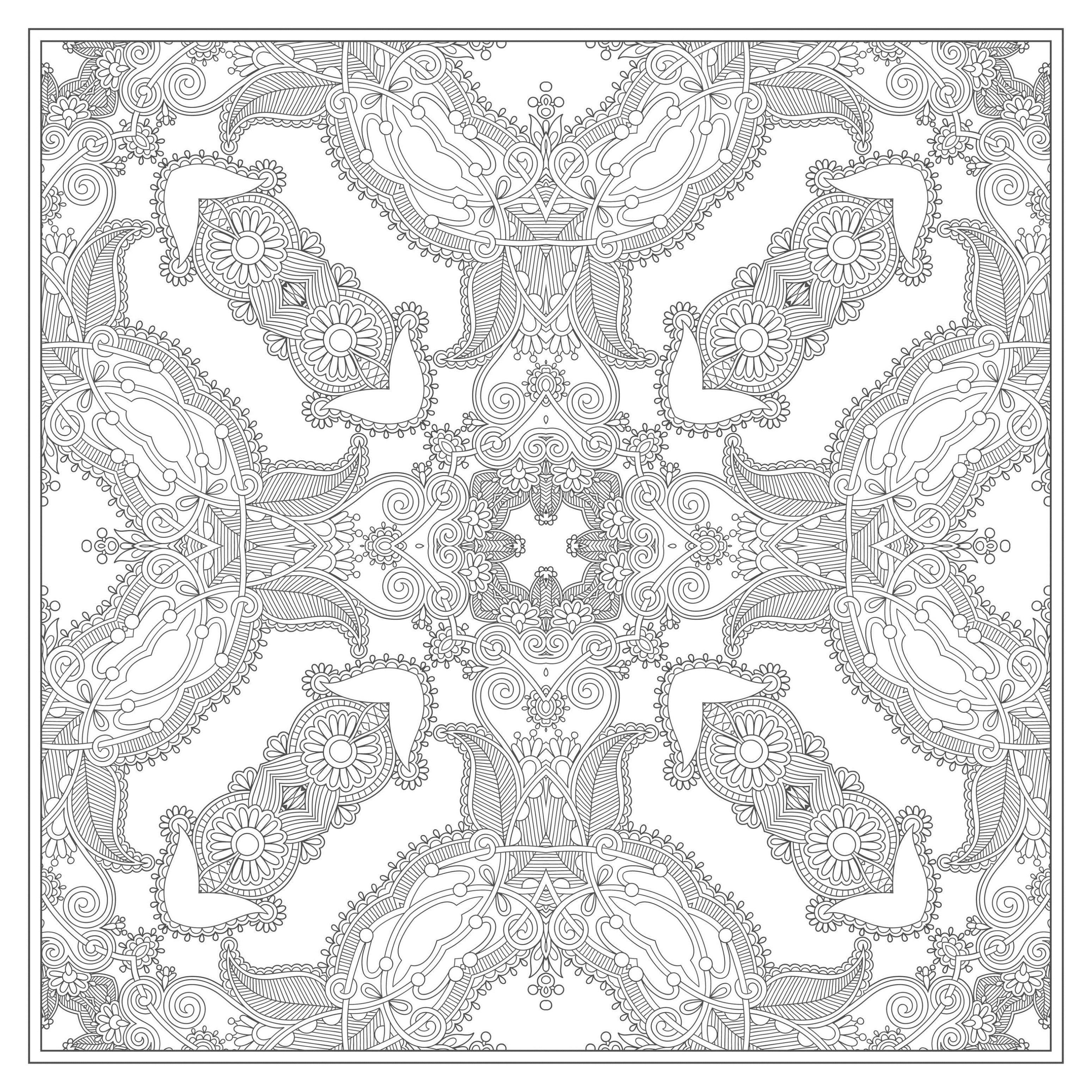Mandala carr magnifique mandalas sur le th me des fleurs et v g tation 100 mandalas zen - Dessin tres dur ...