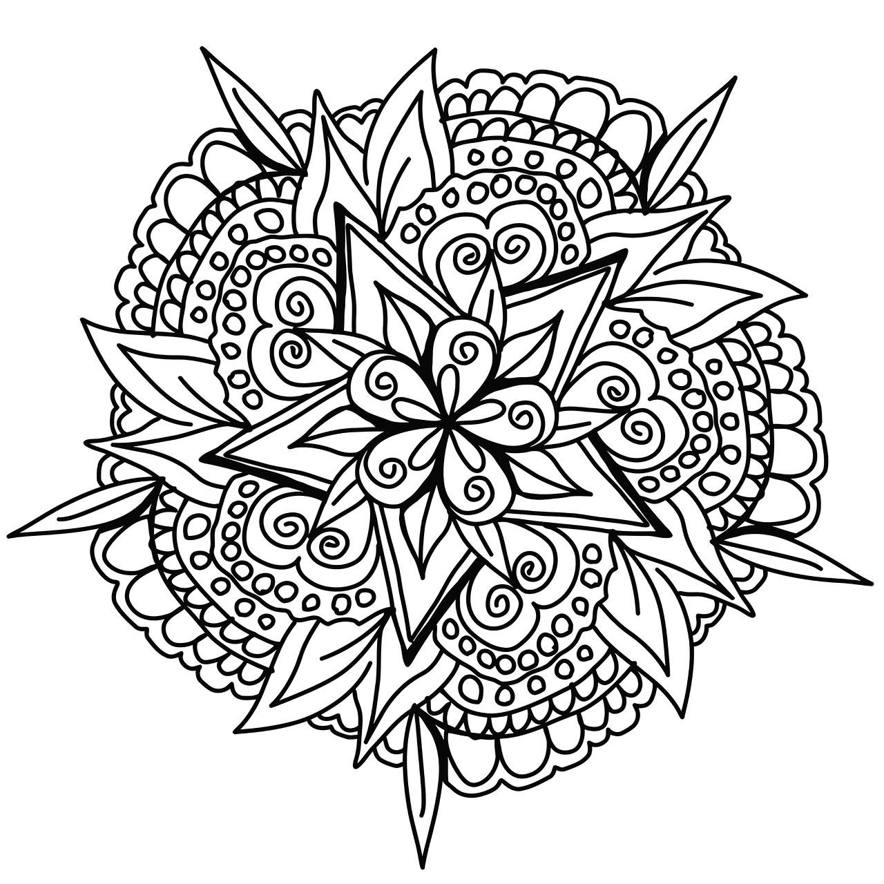 Mandala Dessine A La Main Mandalas Sur Le Theme Des Fleurs Et Vegetation 100 Mandalas Zen Anti Stress