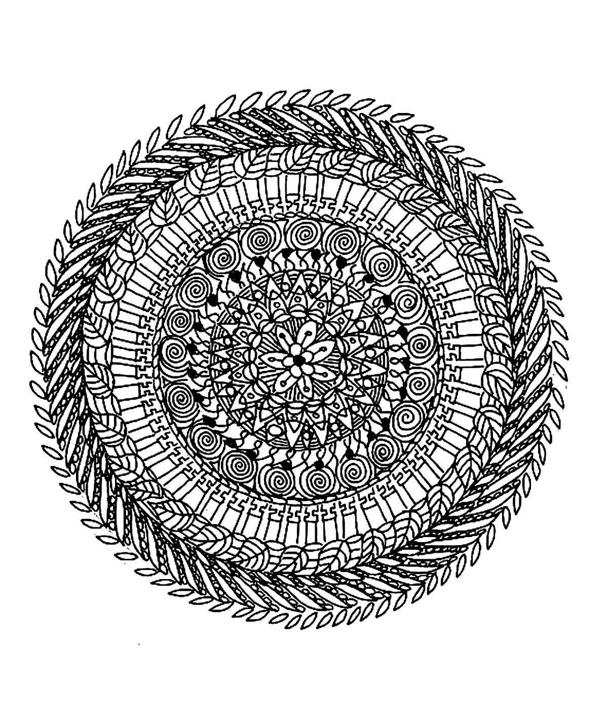 Coloriage De Mandala Damour A Imprimer.Superbe Mandala Complexe Naturel Mandalas Sur Le Theme Des Fleurs
