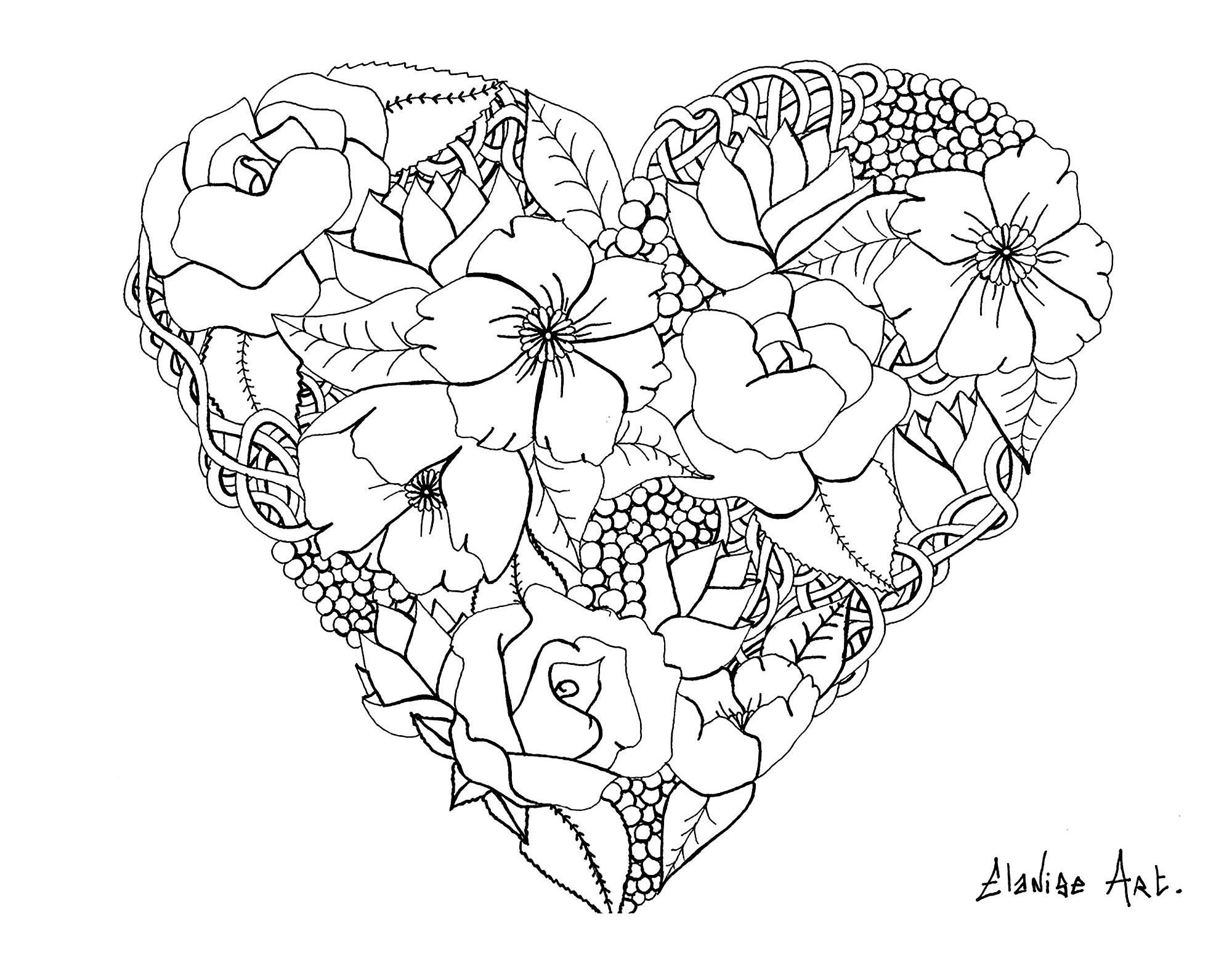 Fleurs Diverses Dans Un Coeur Mandalas Sur Le Theme Des Fleurs Et