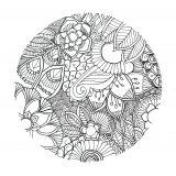 Fleurs diverses dans un cercle