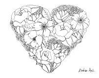 Fleurs diverses dans un coeur
