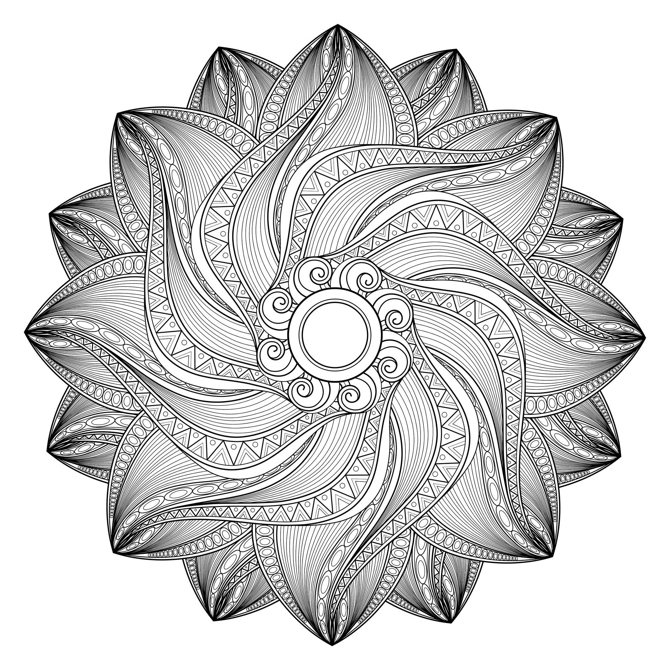 Coloriage Mandala Couleur.Mandala Geometrique Abstrait 3 Mandalas Avec Motifs Geometriques