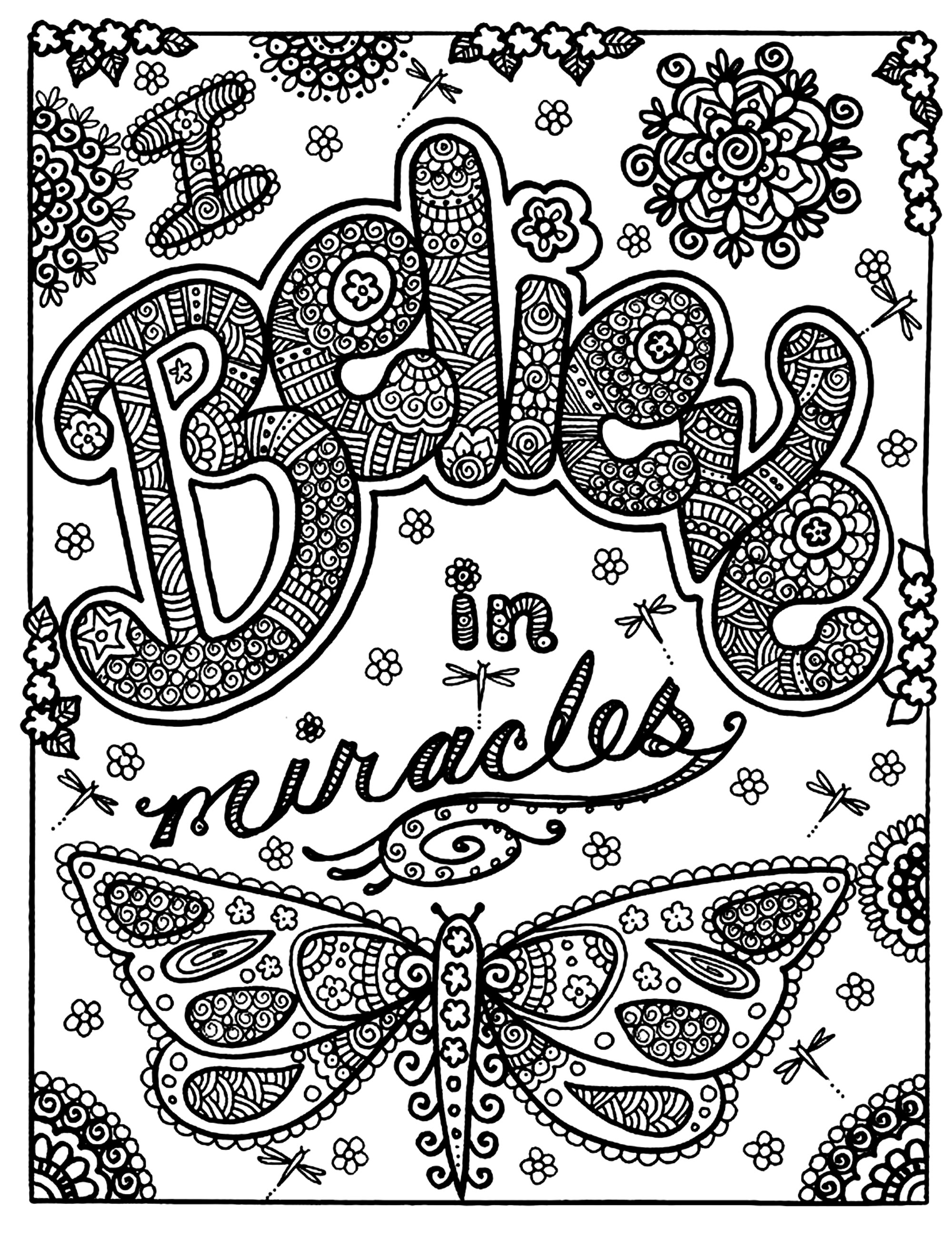 Believe miracles papillon adult - Coloriages d\'Insectes - 100 ...