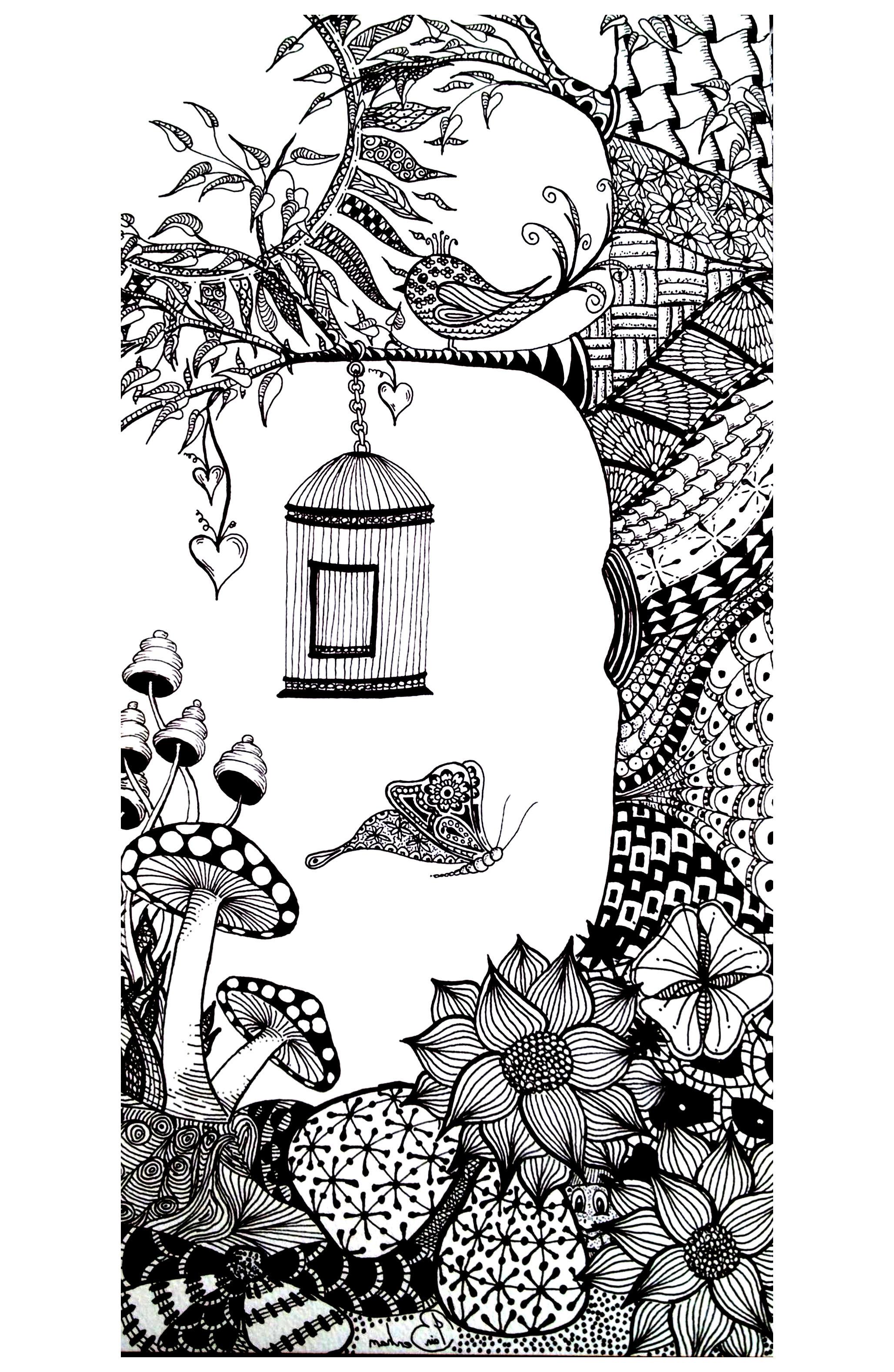Cage papillon adulte | Coloriages d\'Insectes - 100% Mandalas Zen ...