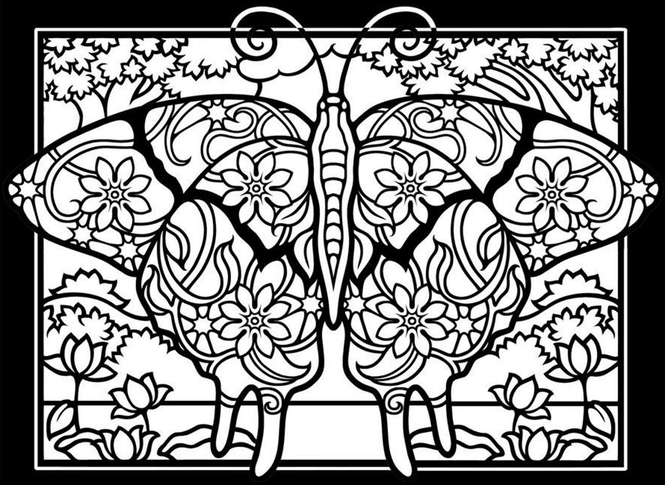 Papillon fond noir | Coloriages d\'Insectes - 100% Mandalas Zen ...