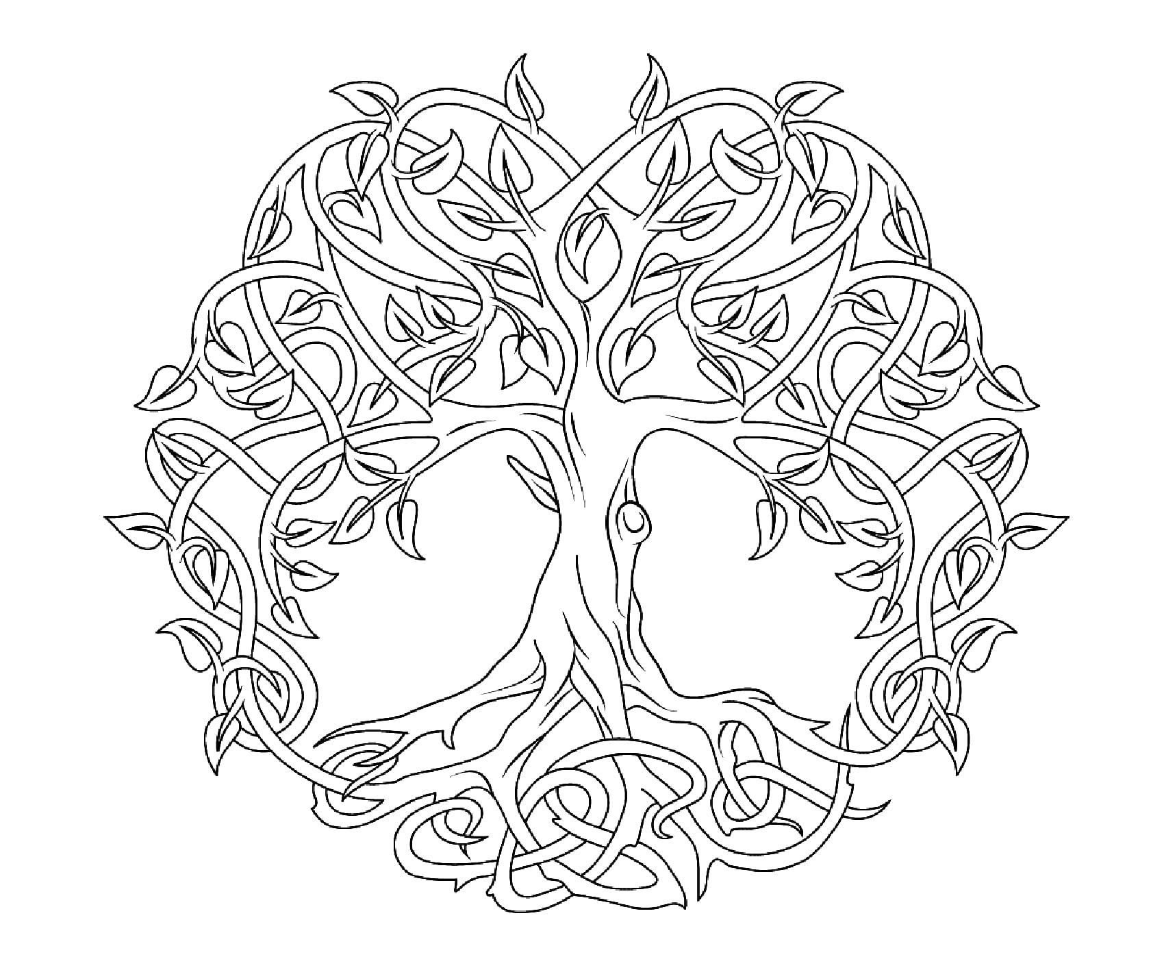 Arbre Pour Coloriage.Mandala En Forme D Arbre Mandalas De Difficulte Normale 100