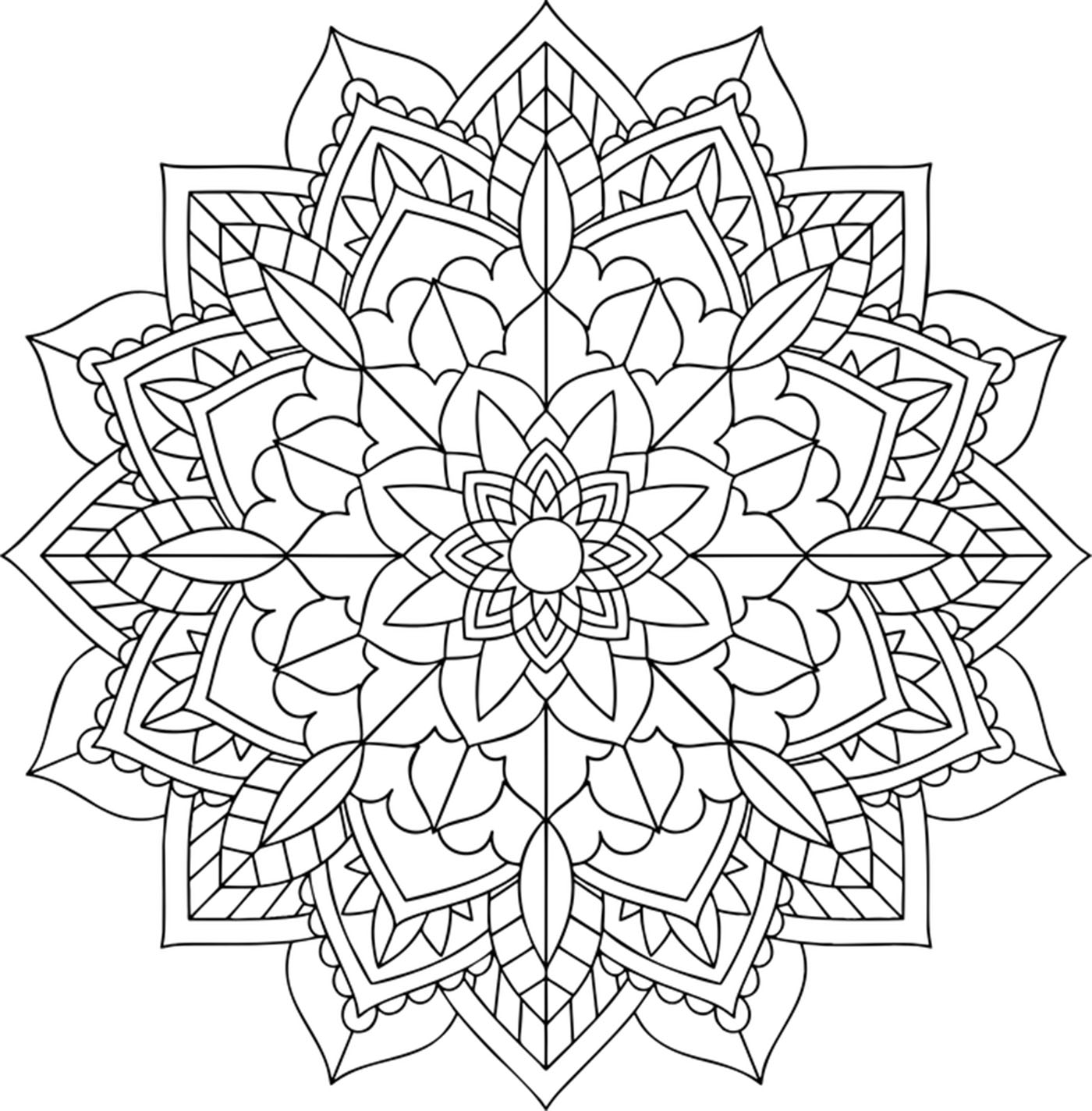 Des détails assez faciles à colorier, avec zones très claires, pour un coloriage de Mandala sombre très original et de grande qualité.