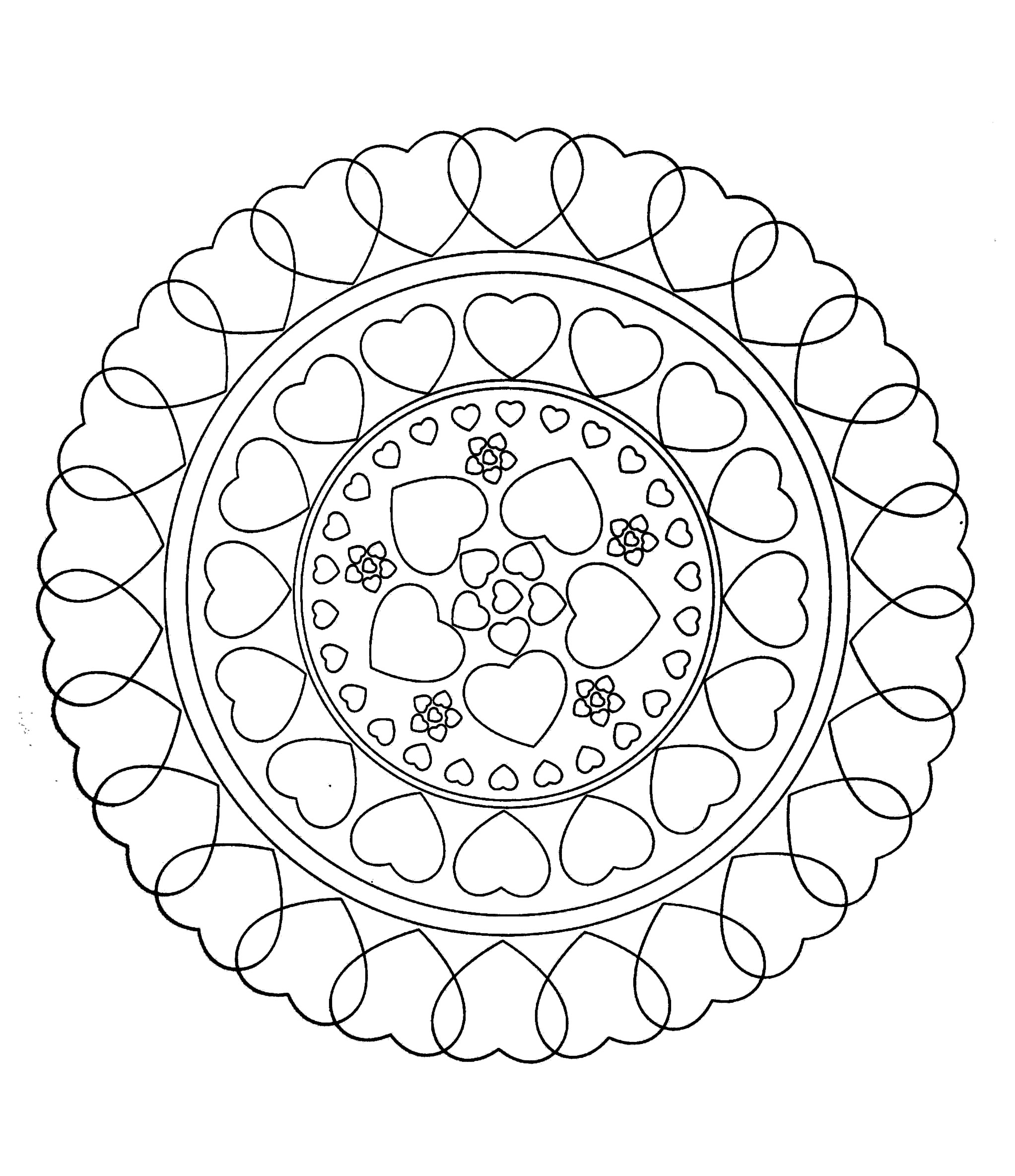 Coloriages de Mandalas : Coeur - 100% Mandalas Zen & Anti-stress