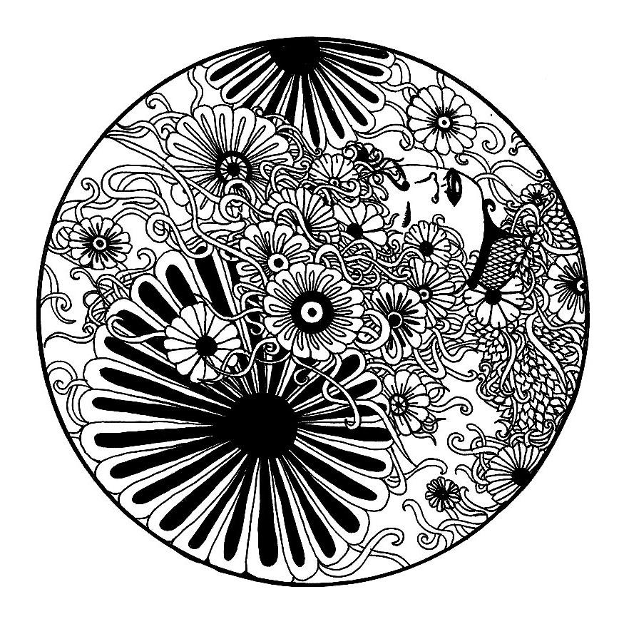 Mandala a imprimer elanise mandala fleurs noir et blanc - Dessin de fleur en noir et blanc ...