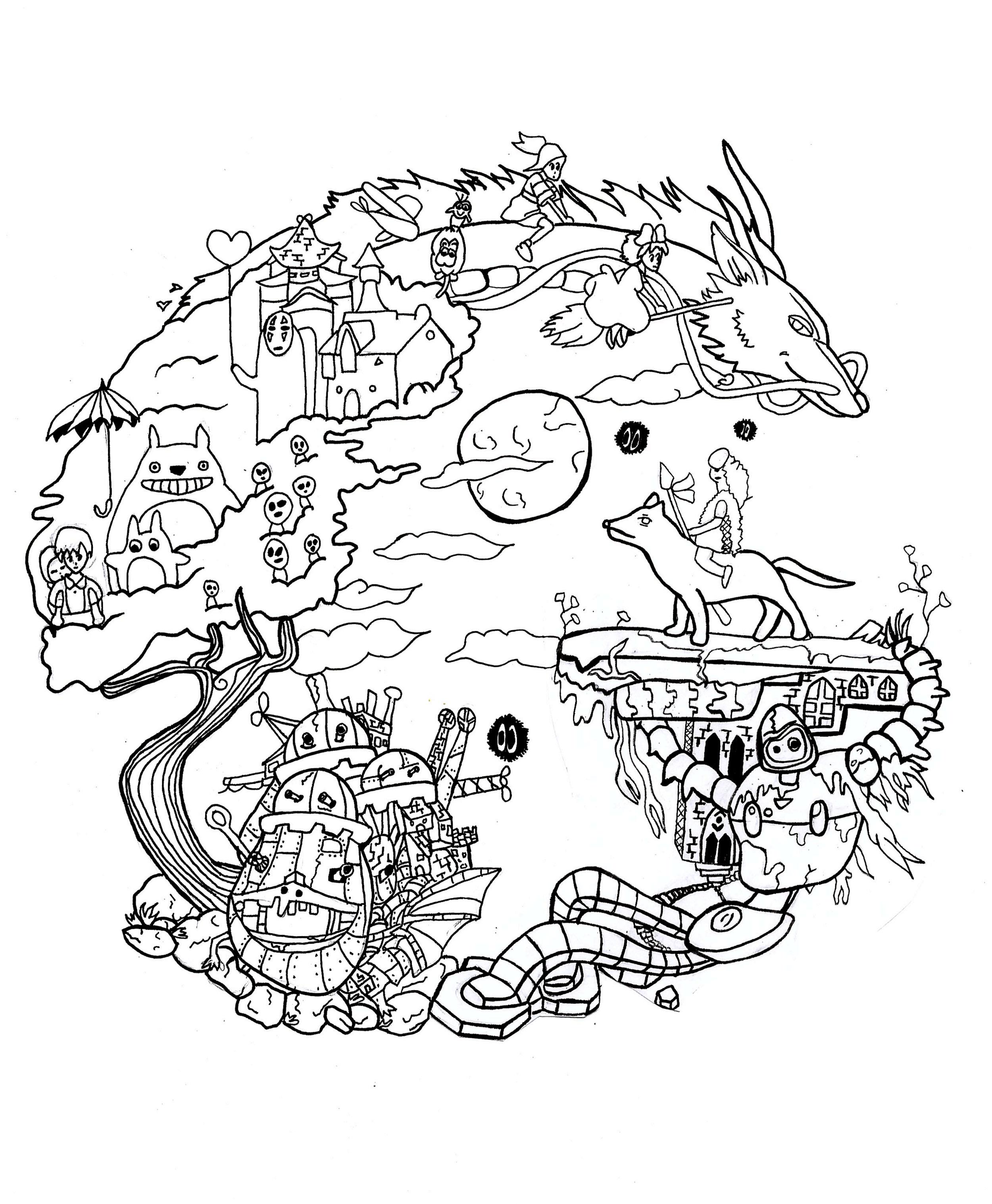 Mandala a imprimer studio ghibli mandalas de difficult for Kiki s delivery service coloring pages