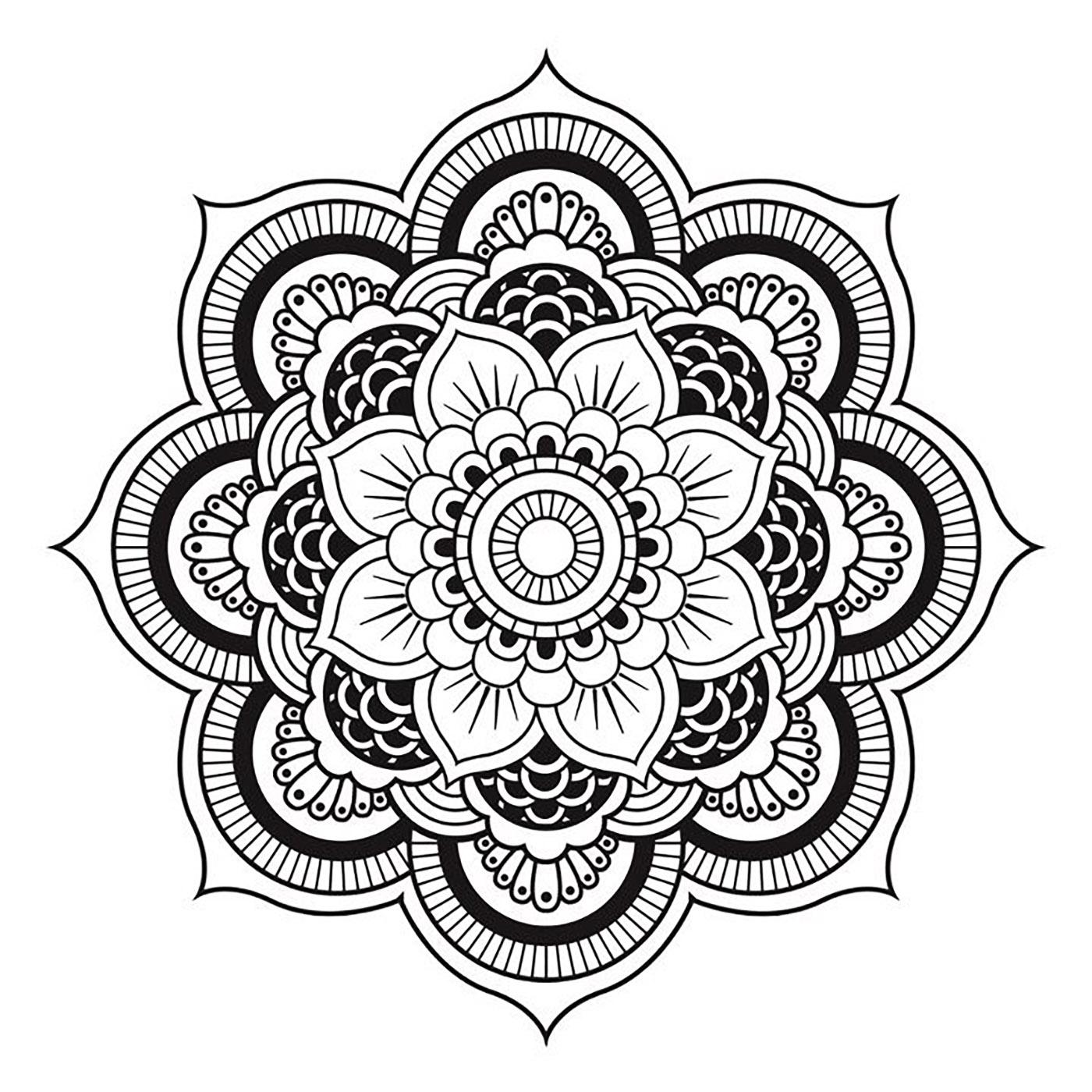 Mandala Fleur Symetrique Et Intriguante Mandalas De Difficulte