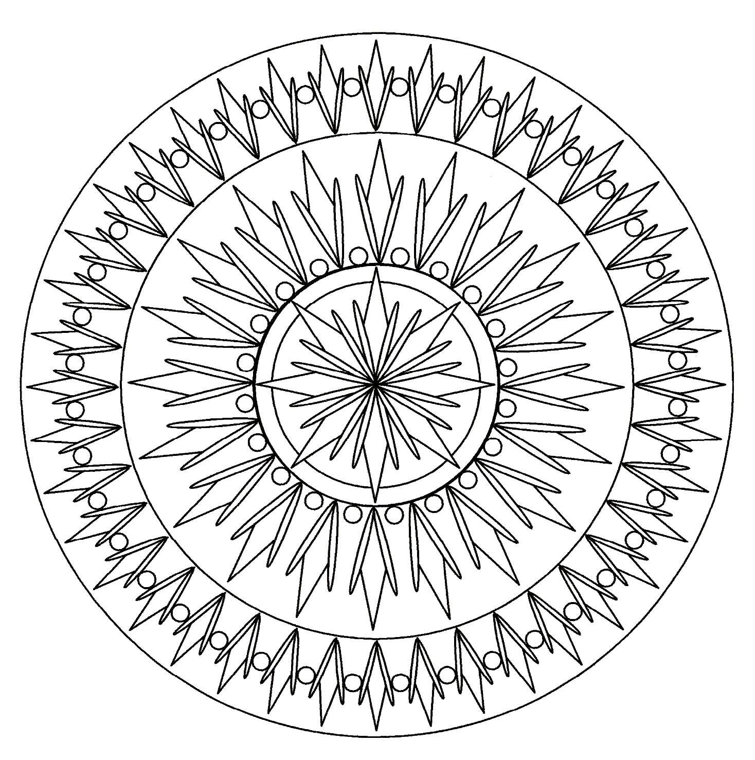 Coloriage Facile Soleil.Mandala Soleil Mandalas De Difficulte Normale 100 Mandalas Zen
