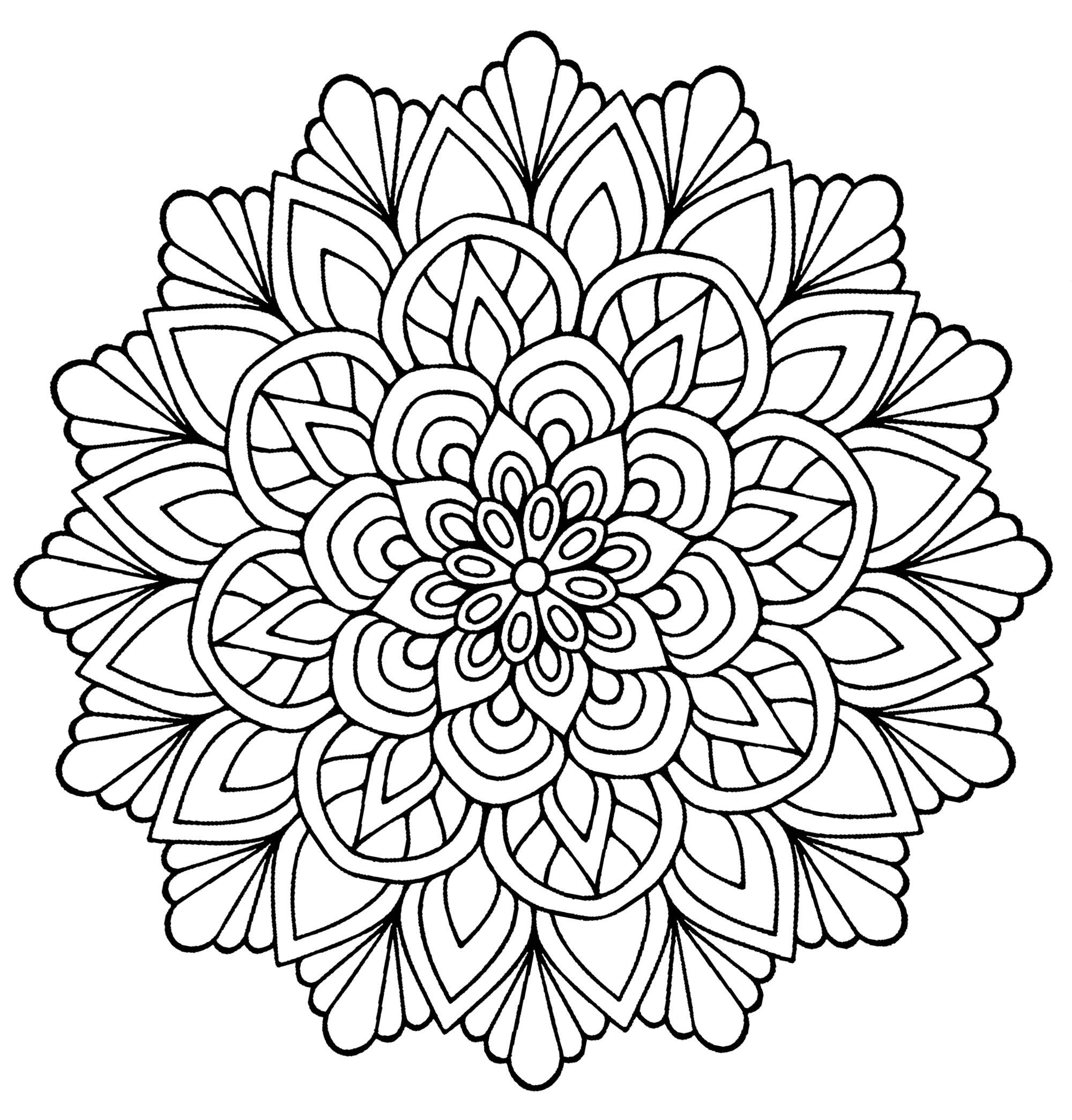 Mandala facile avec feuilles mandalas de difficult normale 100 mandalas zen anti stress - Mandala facile ...