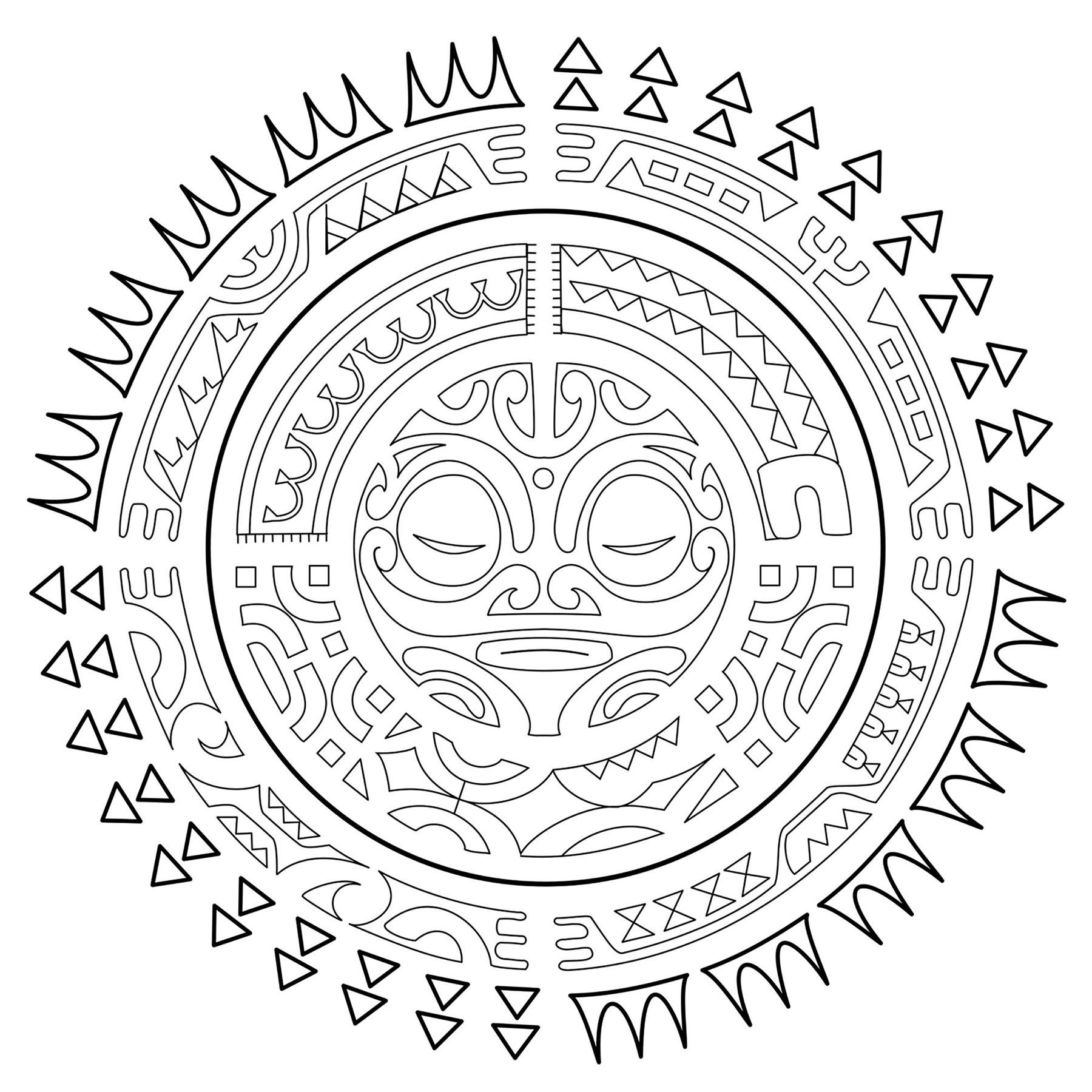 Coloriage Facile Soleil.Tatouage Polynesien Le Soleil Mandalas De Difficulte Normale