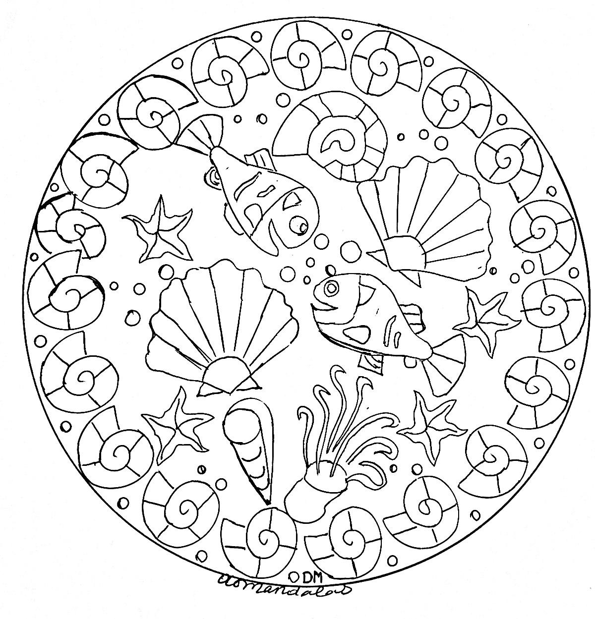 Un Mandala 'fonds marins' de difficulté 'normale', qui conviendra aux enfants et aux adultes qui souhaitent des coloriages ni trop simples ni trop difficiles.