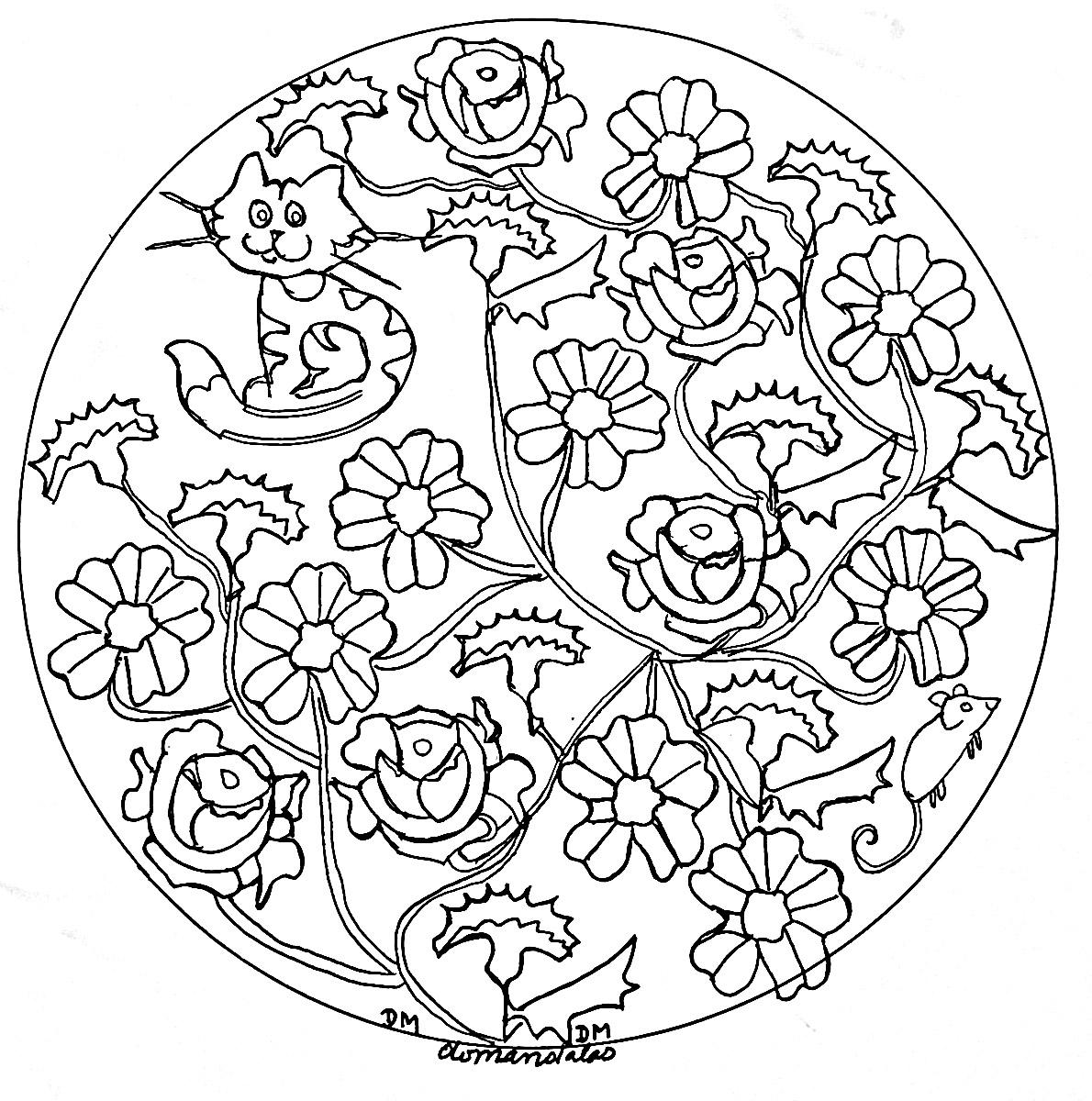 Coloriage Chat Avec Des Fleurs.Joli Mandala Avec Chats Et Petites Fleurs Mandalas De Difficulte