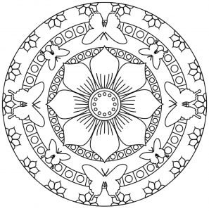 Mandala fleur 100 mandalas zen anti stress - Coloriage papillon simple ...