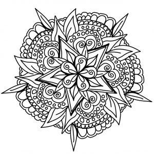 Mandala végétal dessiné à la main