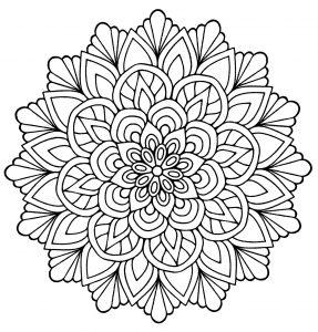 Mandala facile avec feuilles