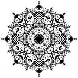 Mandala éléments noir & blanc