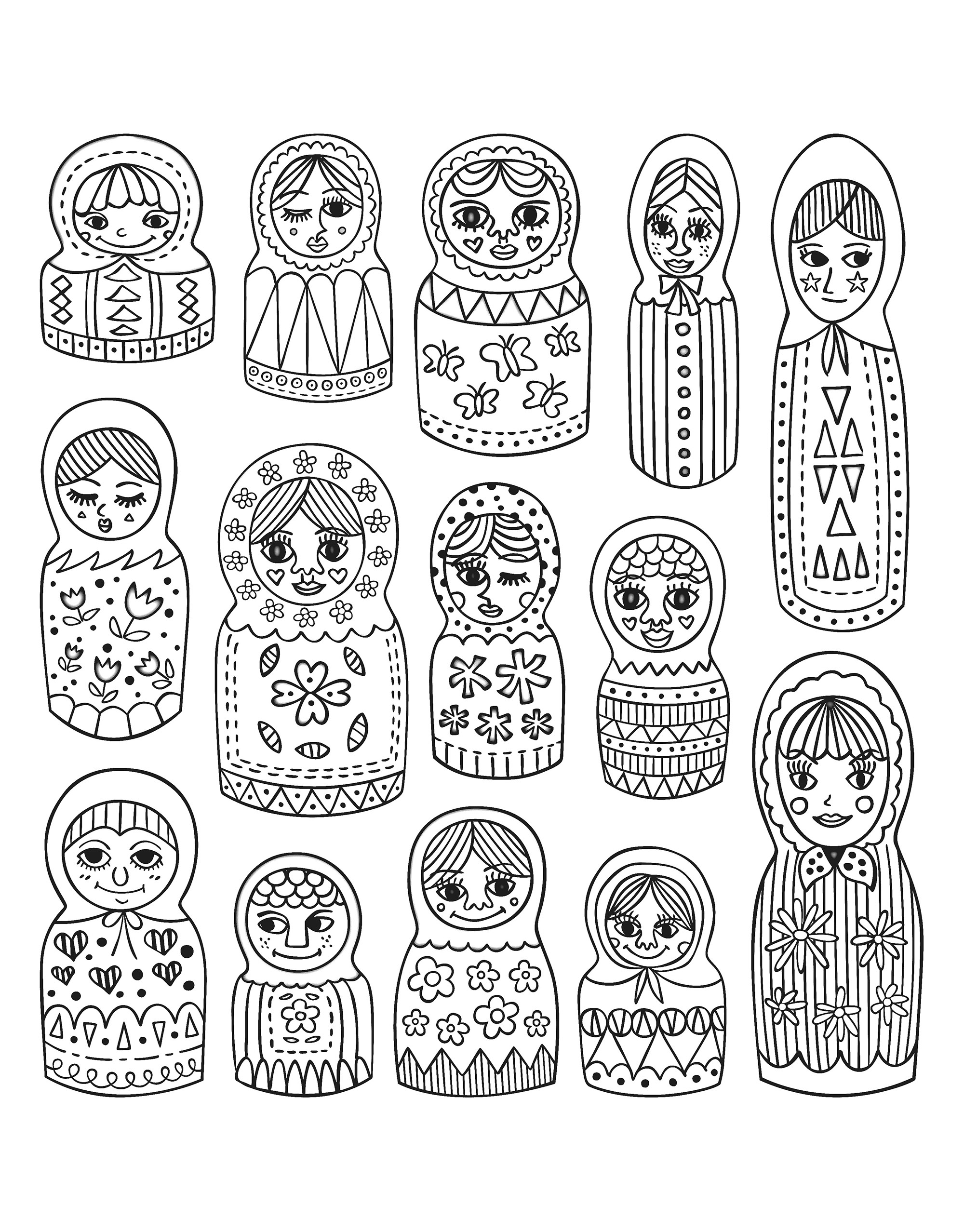 Justcolor Poupees Russes 1 Coloriages De Poupees Russes 100 Mandalas Zen Anti Stress