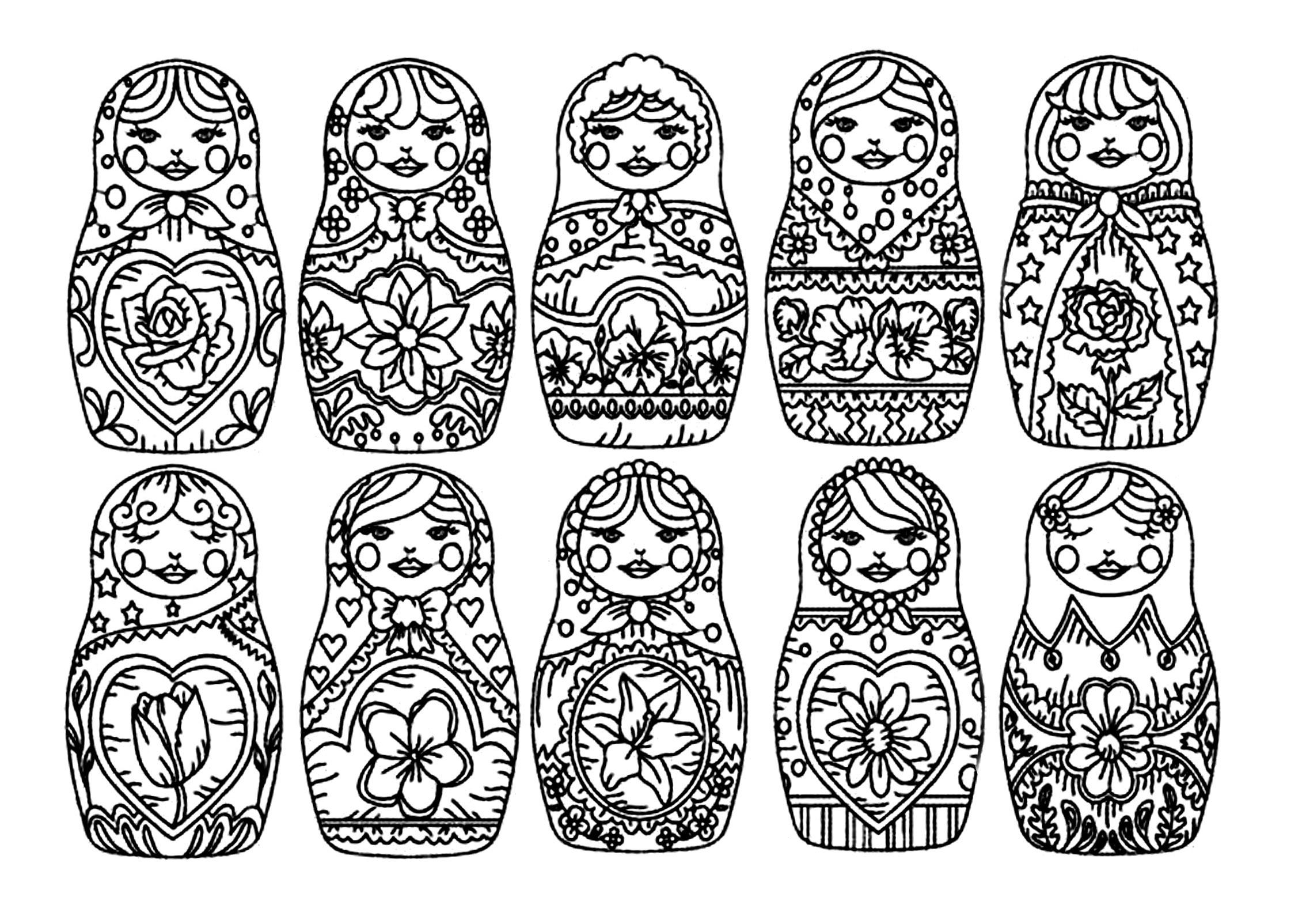 Coloriage Mandala Russe.Justcolor Poupees Russes 3 Coloriages De Poupees Russes 100