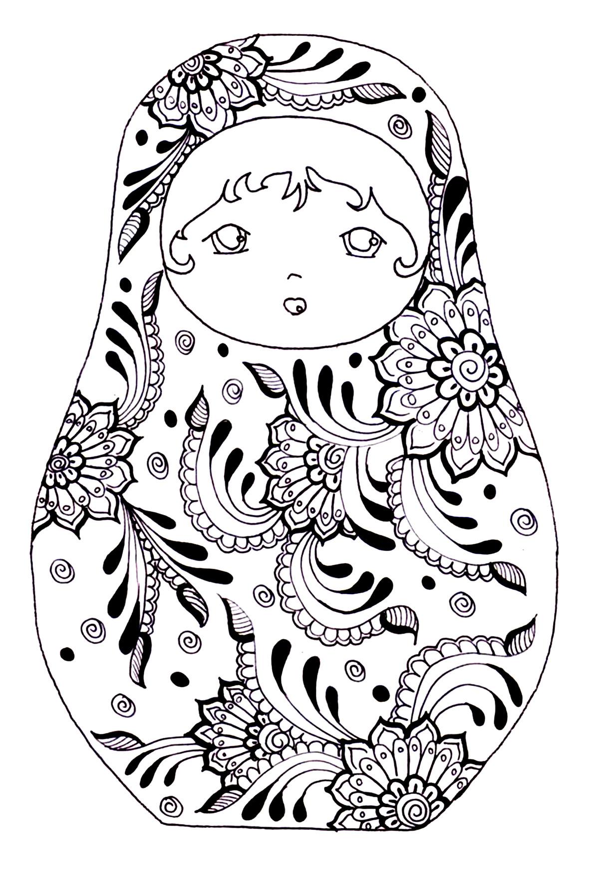 Coloriage Mandala Russe.Justcolor Poupees Russes 4 Coloriages De Poupees Russes 100