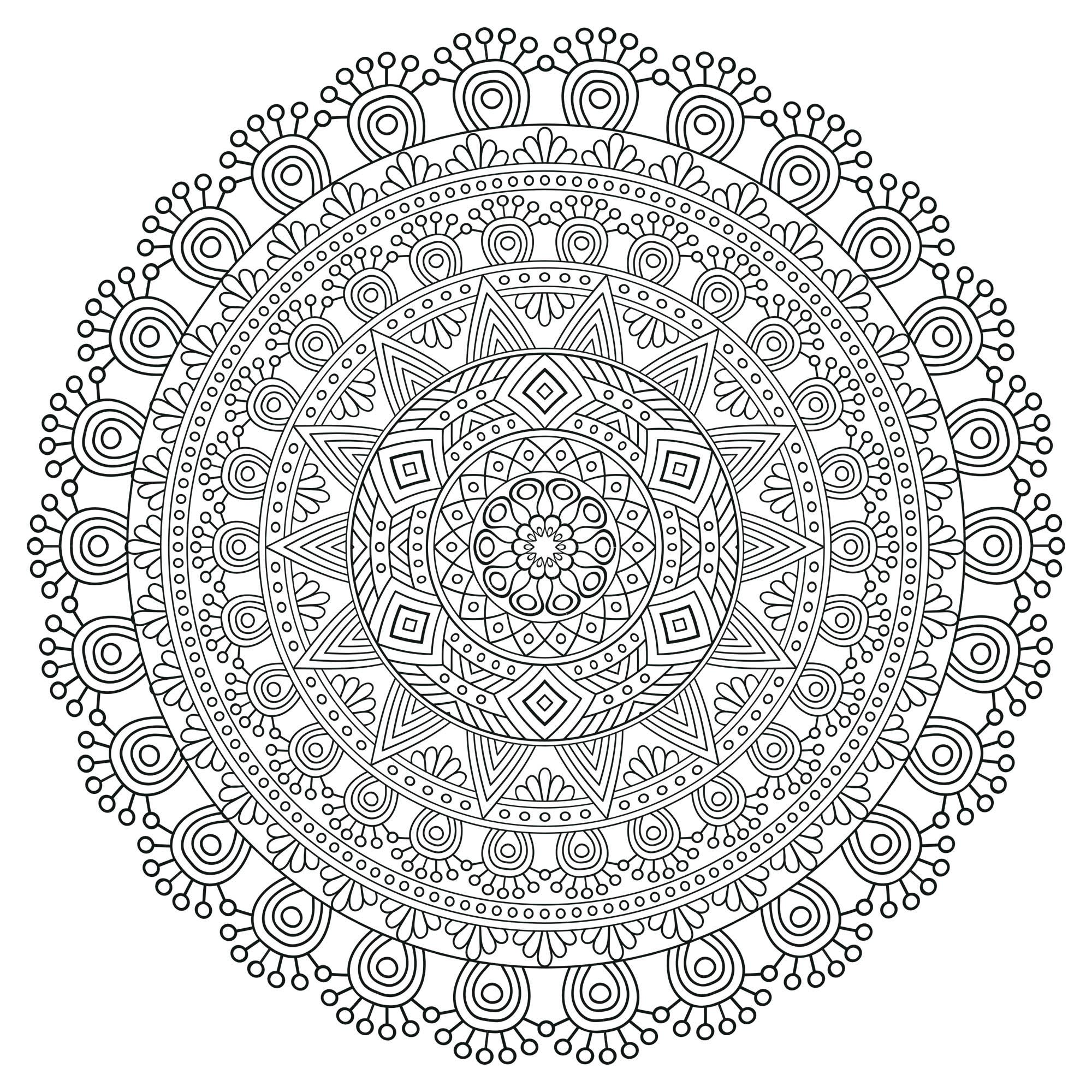 Mandala anti stress tr s d taill mandalas tr s - Mandala beau et difficile ...